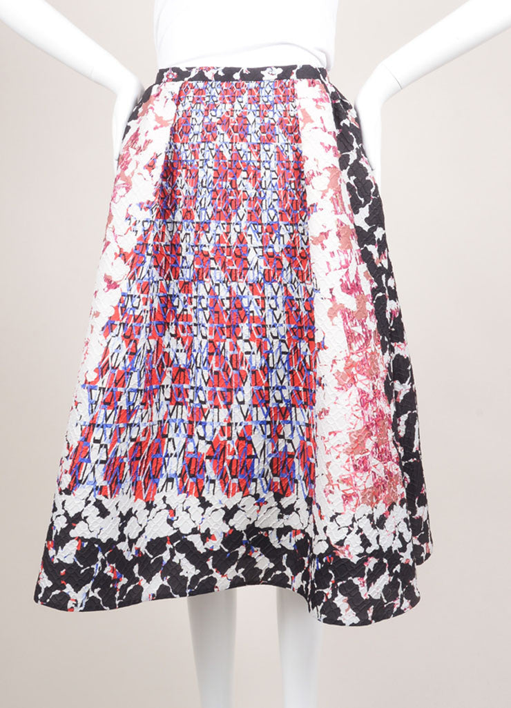 "Peter Pilotto Multicolor Camo Print Mattelasse ""Emma"" Skirt Frontview"