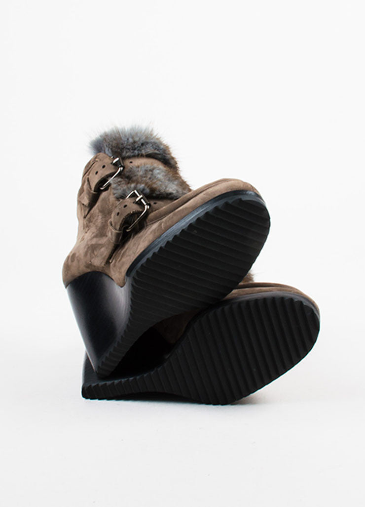 Pierre Hardy Brown Suede Removable Fur Trim Wedge Booties Outsoles