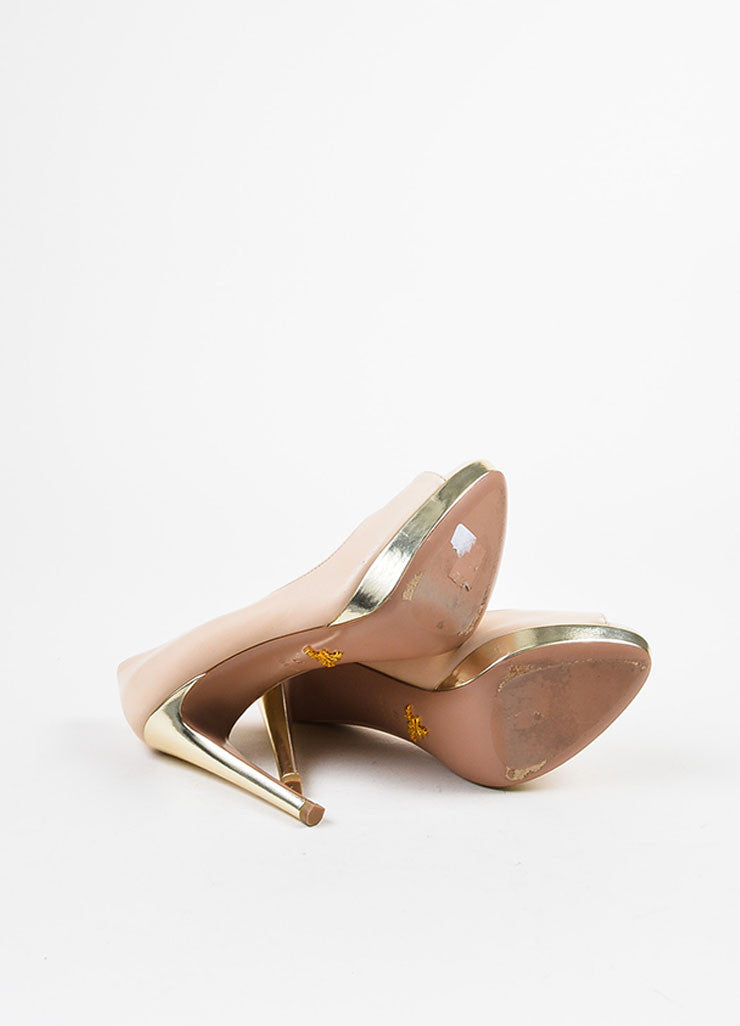 Prada Beige Nude and Pale Gold Toned Metallic Leather Peep Toe Platform Pumps Outsoles