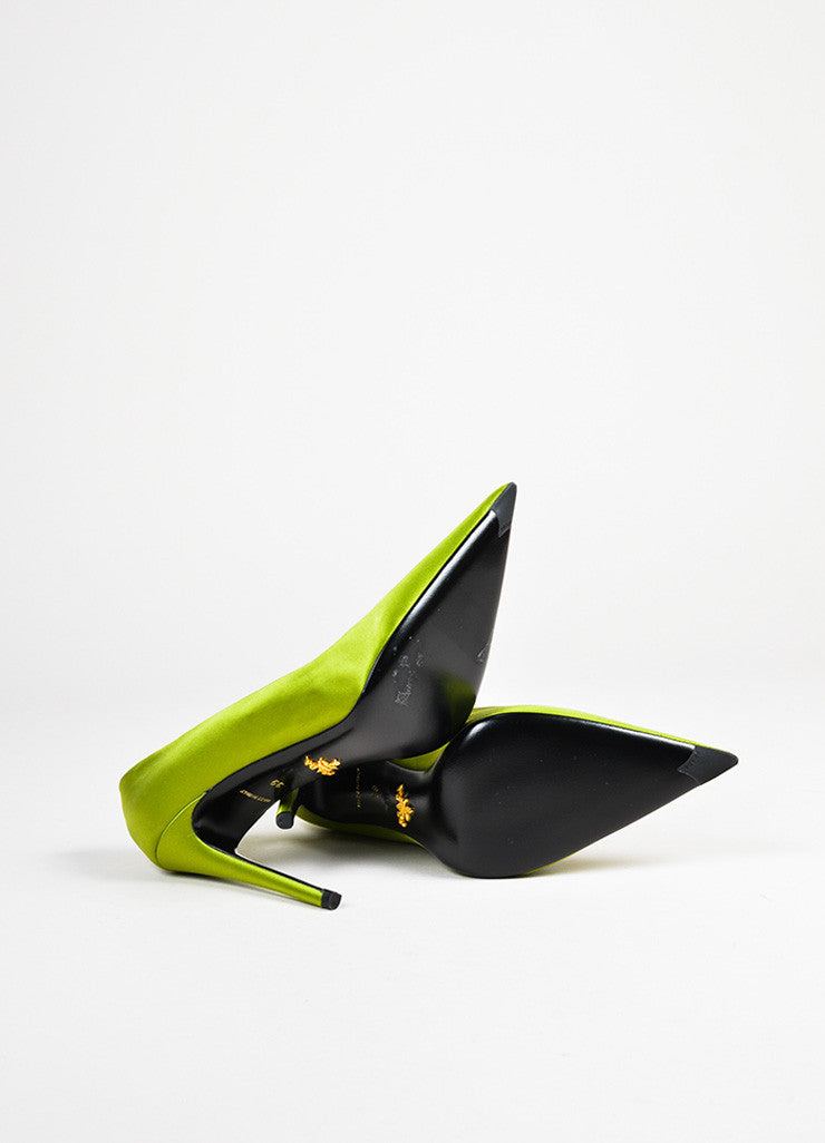 Prada Green Satin Pointed Toe Pumps Outsoles