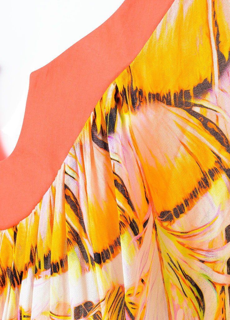 Roberto Cavalli Pink and Multicolor Feather Printed Caftan Dress Detail