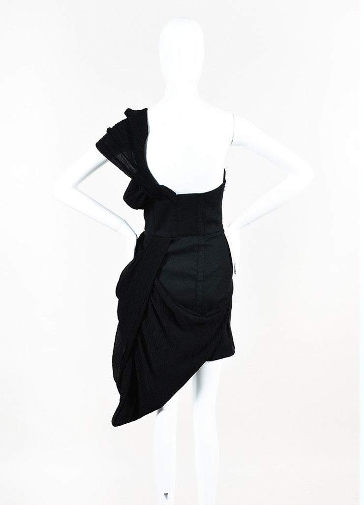 Rodarte x Opening Ceremony Black Cotton and Linen Draped Bustier Dress Backview