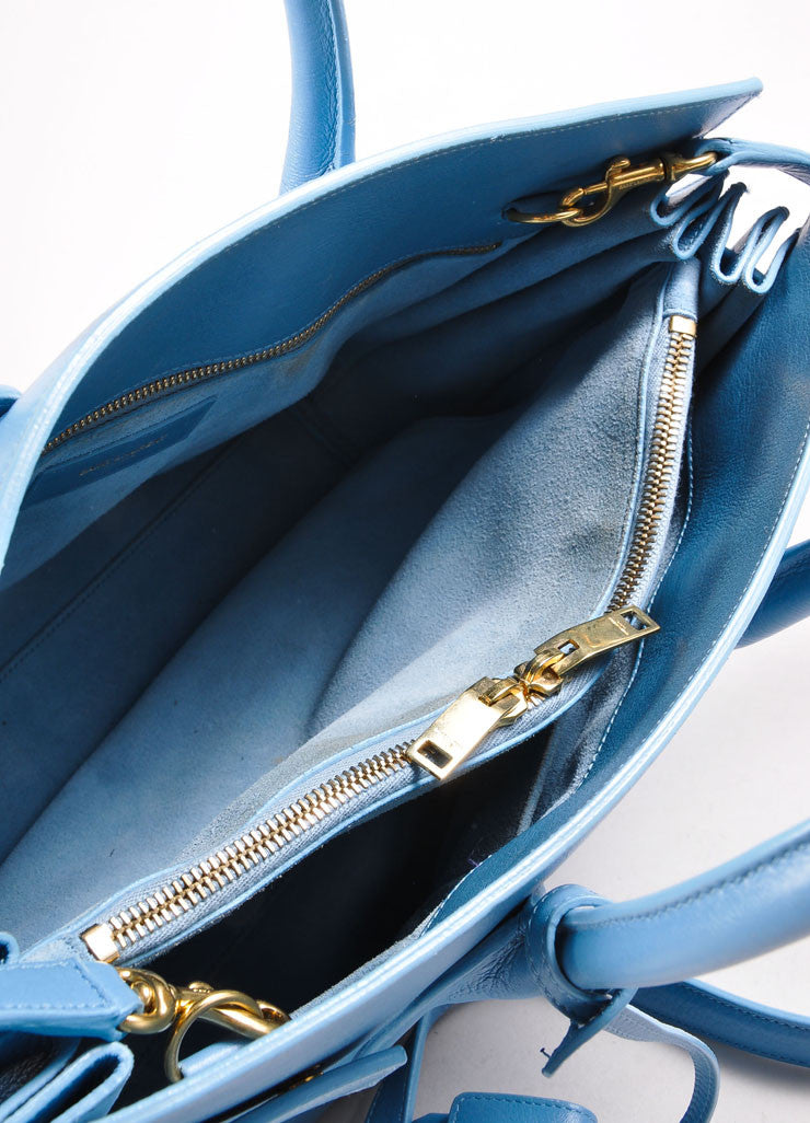 "Saint Laurent Light Blue Leather ""Small Sac du Jour"" Satchel Handbag Interior"