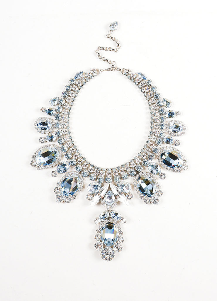 Silver Toned and Blue Thorin & Co. Glass Rhinestone Statement Bib Necklace Frontview