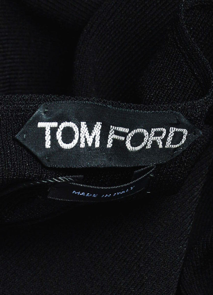 Tom Ford Black Mesh V-Neck See-Through Trim Sweater Brand