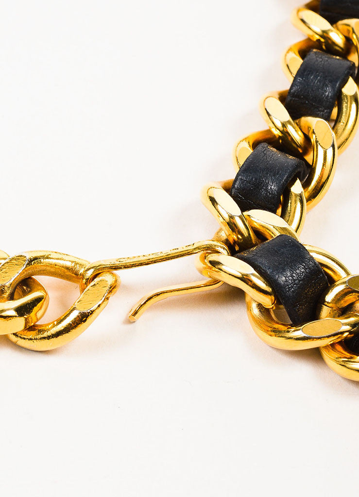 Chanel Black and Gold Toned Leather Chain Interwoven 'CC' Coin Charm Belt Closure