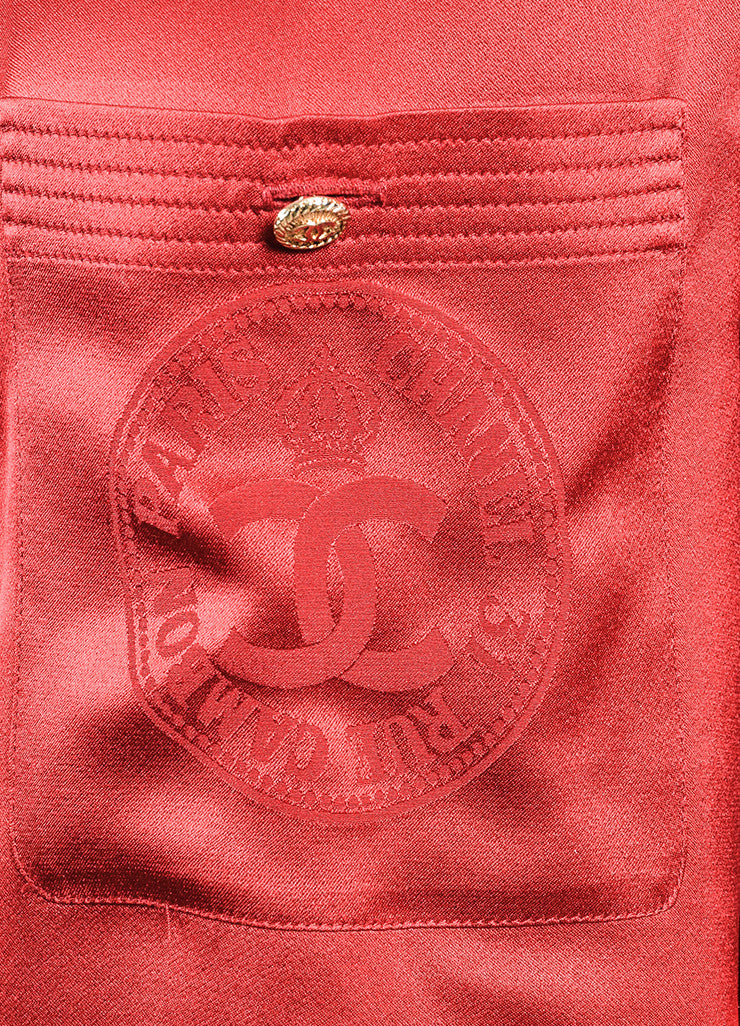 Chanel Red and Gold Toned 'CC' Button Collar Bow Long Sleeve Blouse Detail 2
