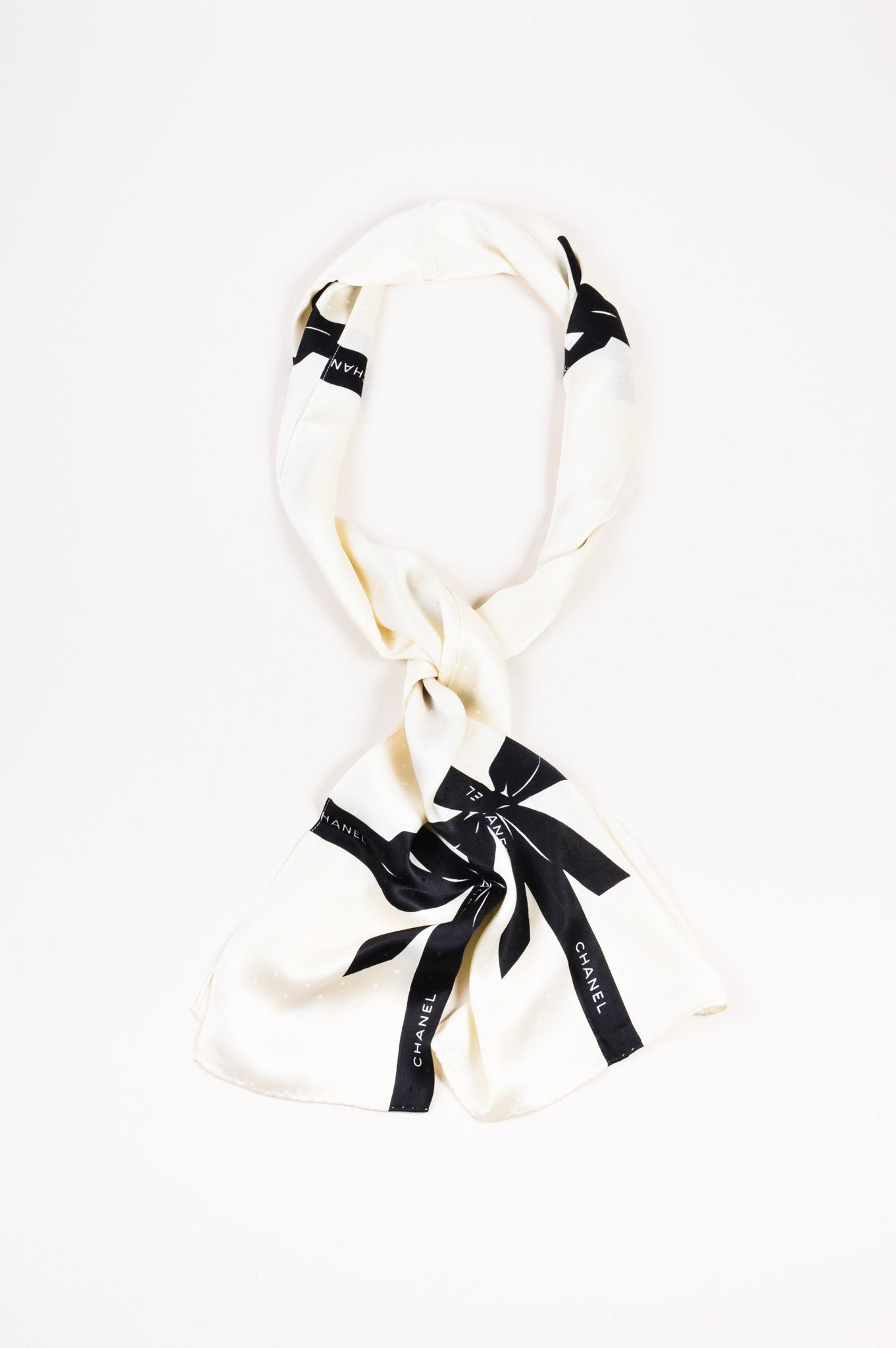 Chanel Cream and Black Textured Silk Bow Print Long Scarf Frontview