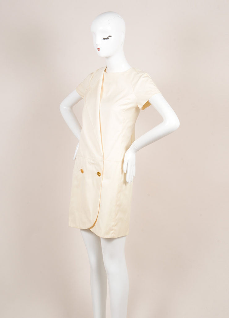 Chanel Cream Cotton Clover Button Short Sleeve Wrap Dress Sideview