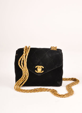 "Chanel Black and Gold Toned Quilted Velvet ""CC"" Turnlock Chain Strap Mini Flap Bag Frontview"