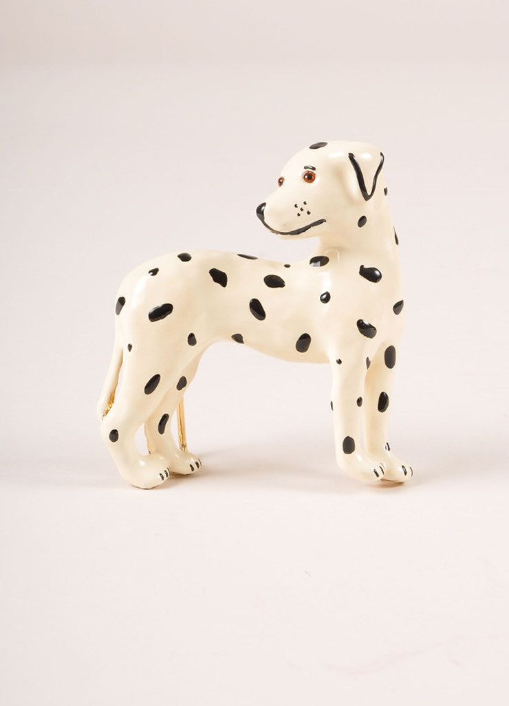 Mimi Di N Cream and Black Enameled Dalmatian Dog Belt Buckle Frontview