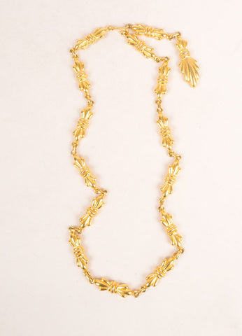 Mimi Di N Gold Toned Link Bow Chain Necklace Frontview