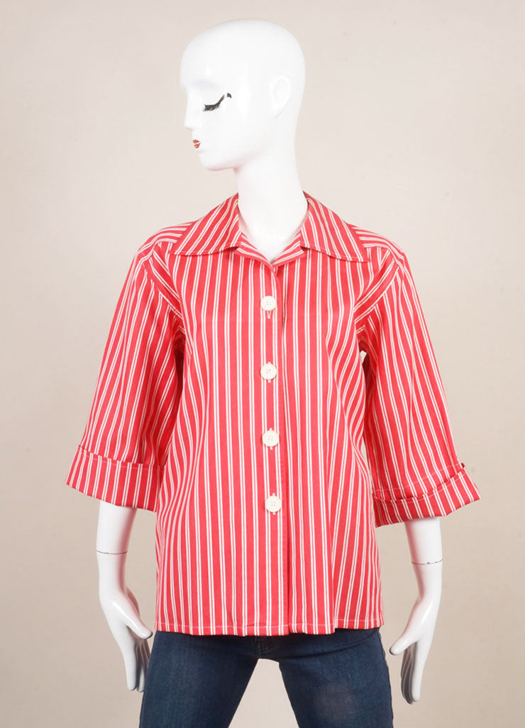 Saint Laurent Red and White Twill Knit Pinstripe Button Up Shirt Frontview
