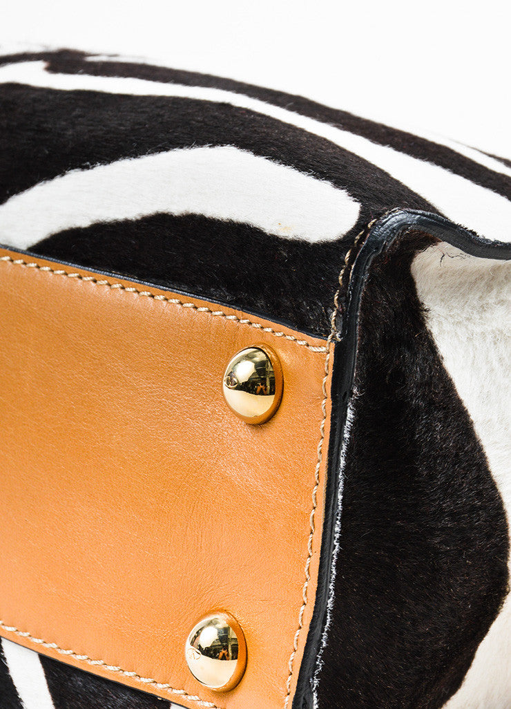 "Valentino Cream and Brown Leather Calf Hair Zebra Print Bow ""Aphrodite"" Bag Detail"