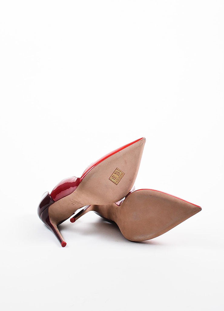 Valentino Red Burgundy Patent Leather Cut In Pointed Toe Pumps Outsoles