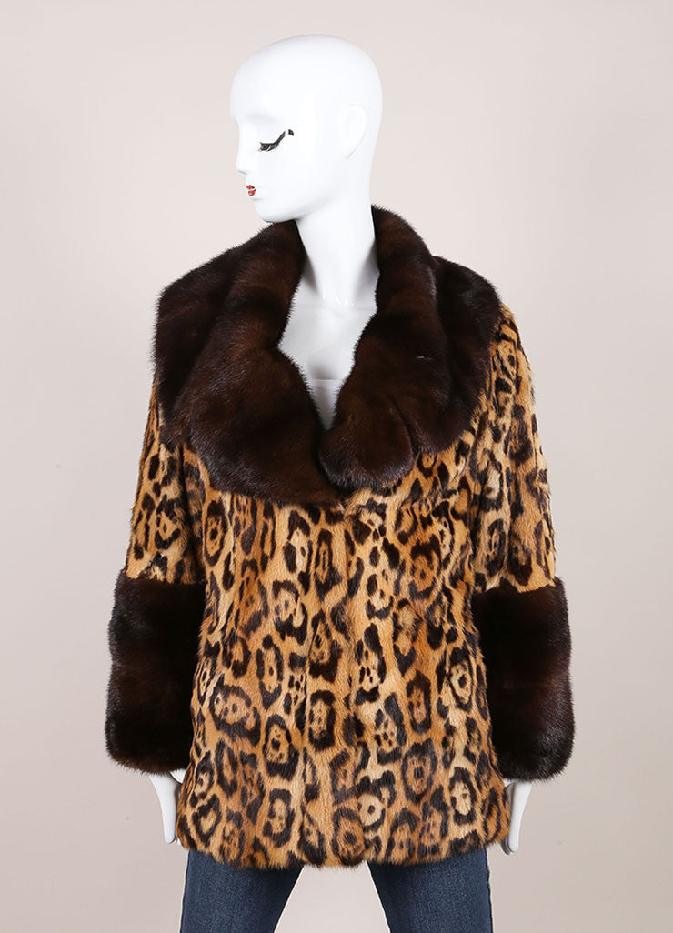 Valentino Tan and Brown Mink Trim Leopard Print Long Sleeve Coat Frontview