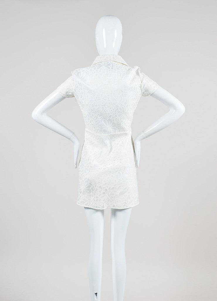 White Valentino Cotton and Silk Blend Semi Sheer Floral Short Sleeve Shirt Dress Backview