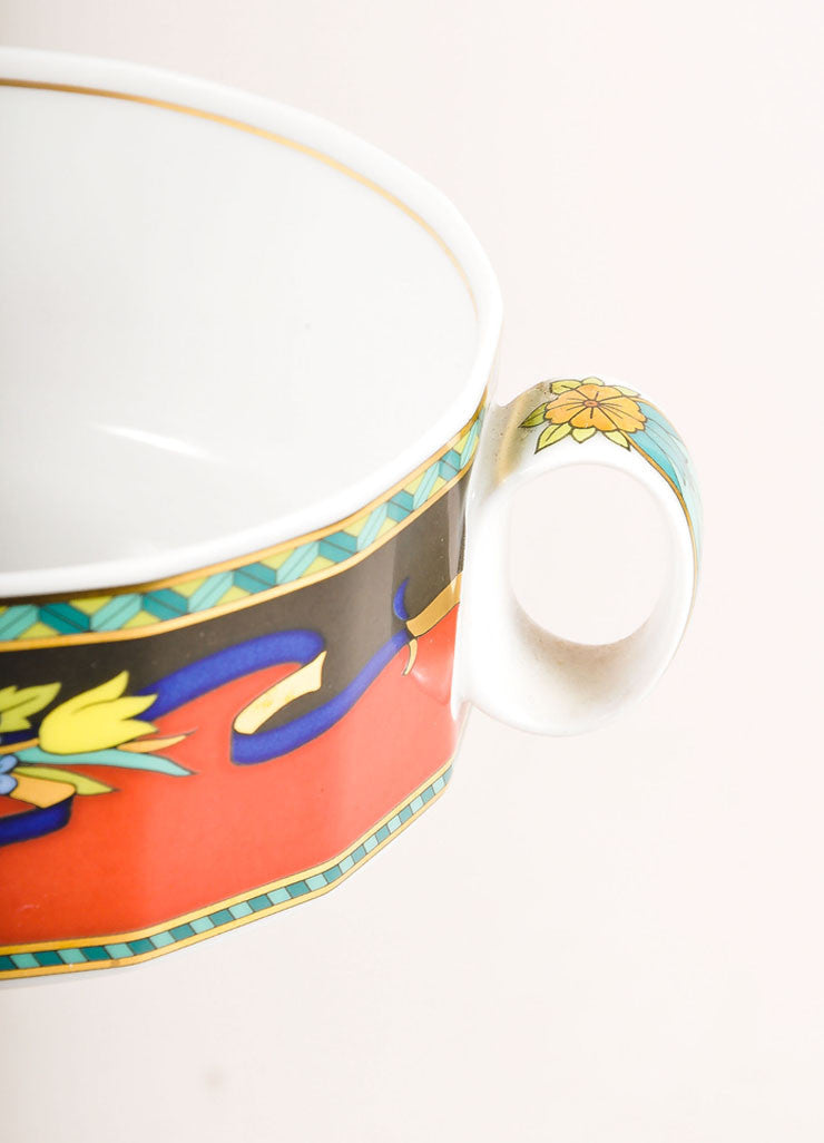 "Versace Rosenthal Red and Multicolor ""Le Roi Soleil"" Large Soup Cup Detail"