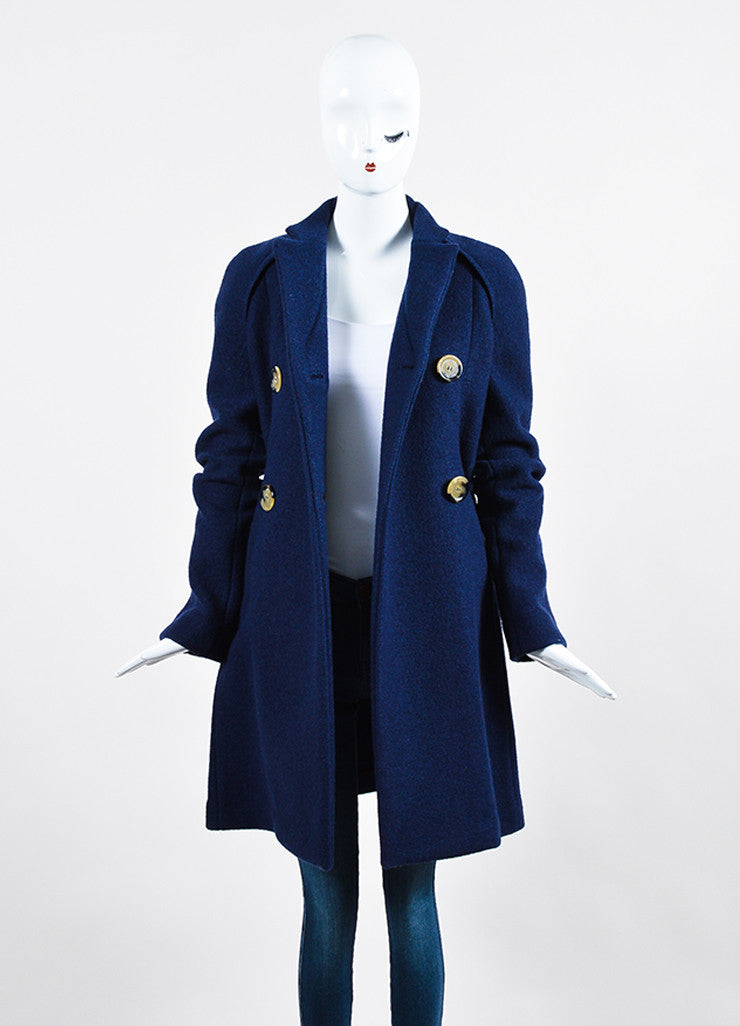 Navy Blue Victoria Beckham Wool Double Breasted Coat Frontview