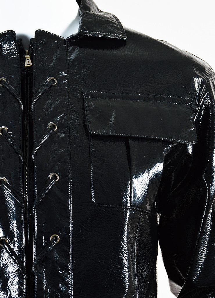 Yves Saint Laurent Black Glossy Faux Leather Lace Up Jacket Detail