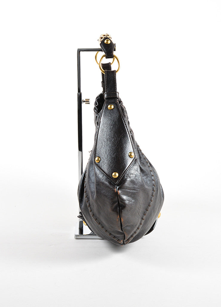 "Yves Saint Laurent Dark Brown Leather ""Vincennes Mombasa""  Hobo Bag Sideview"