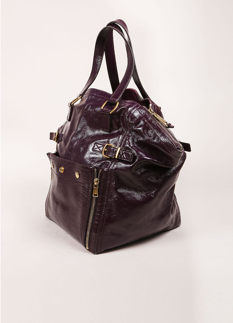 "Yves Saint Laurent Purple Patent Leather Textured ""Downtown"" Tote Bag Sideview"
