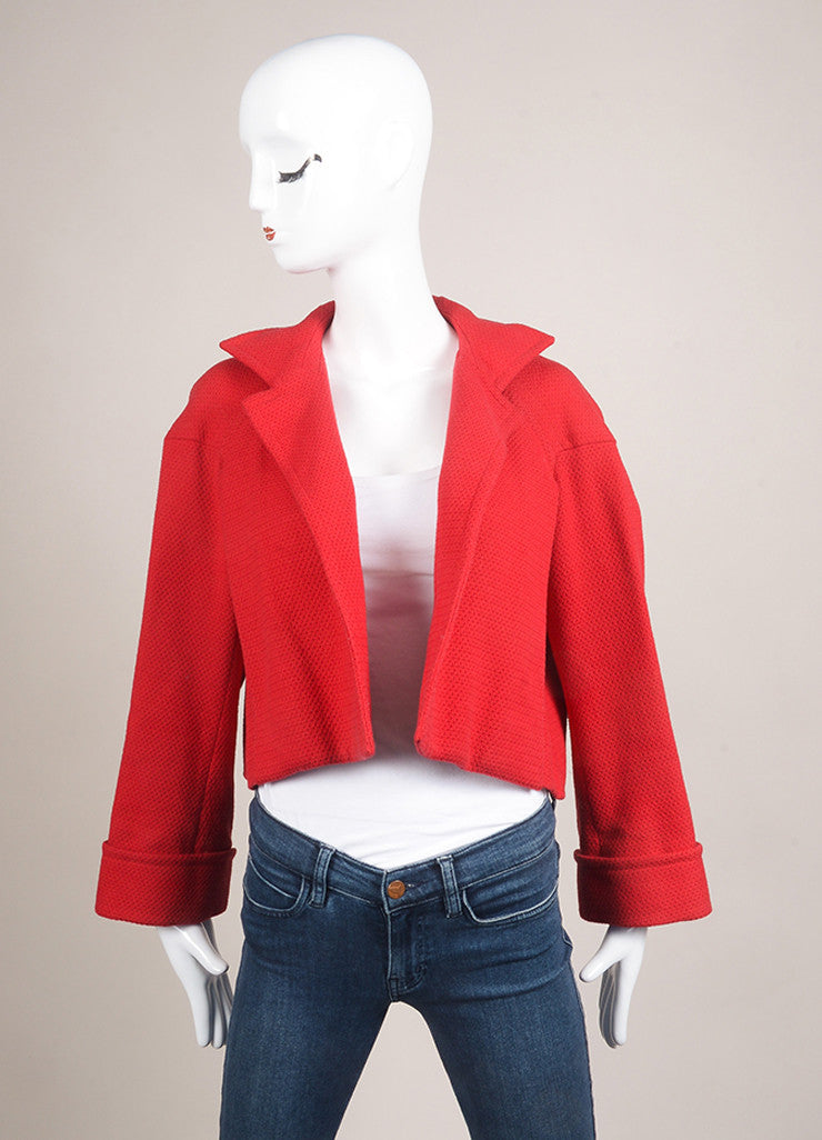 Yves Saint Laurent Red Cotton Cropped Jacket Frontview