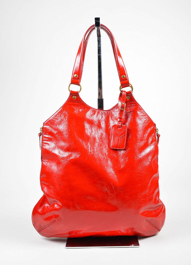 "Red 	 Yves Saint Laurent Patent Leather ""Tribute"" Tote Bag Frontview"
