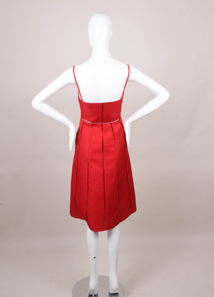 Valentino Red Spaghetti Strap Square Eyelet Panel Silk Dress