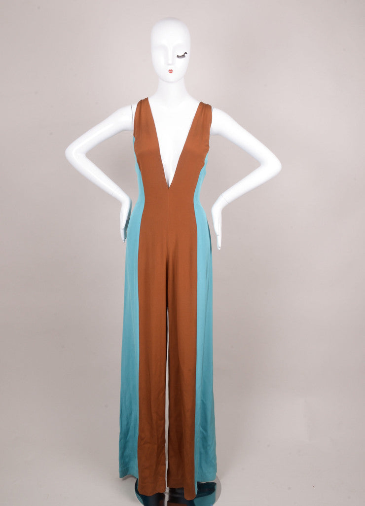 Lorenzo Riva Couture Blue and Brown Color Block Sleeveless Silk Jumpsuit Frontview