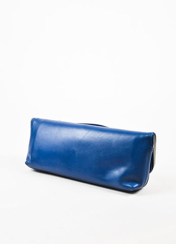 "3.1 Phillip Lim ""Cerulean"" Blue Leather Fold Over Medium ""31 Minute"" Clutch Bag Sideview"