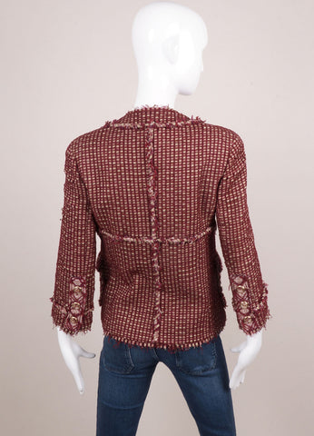 Maroon and Green Textured Boucle Tweed Three Quarter Sleeve Fitted Buttoned Jacket