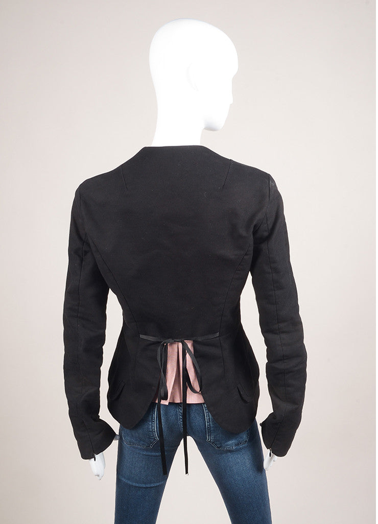 Alessandro Dell'Acqua Black Cotton Peplum Jacket Backview