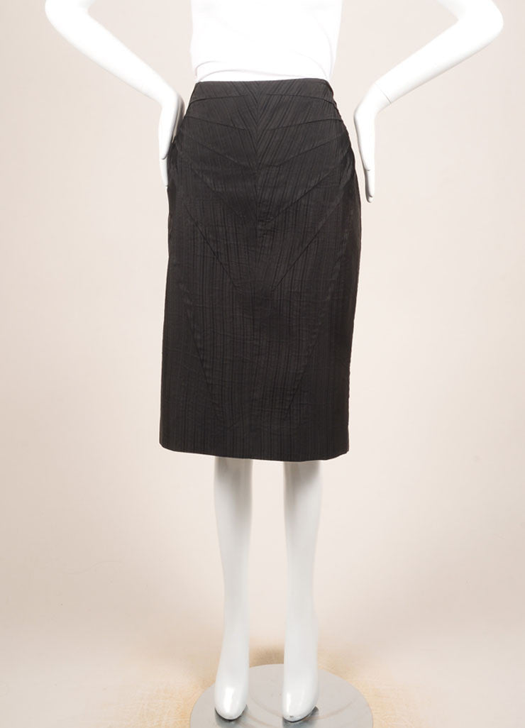 Alexander McQueen Black Silk Pinstripe Pintuck Pleated Pencil Skirt Frontview