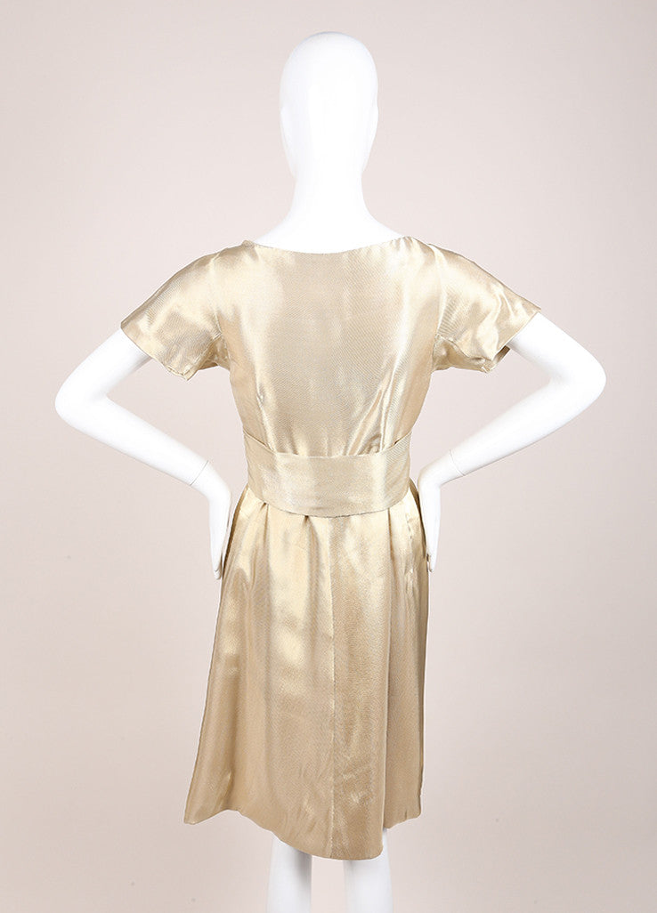 Alexander McQueen Gold Woven Metallic Pleated Short Sleeve Belted Dress Backview