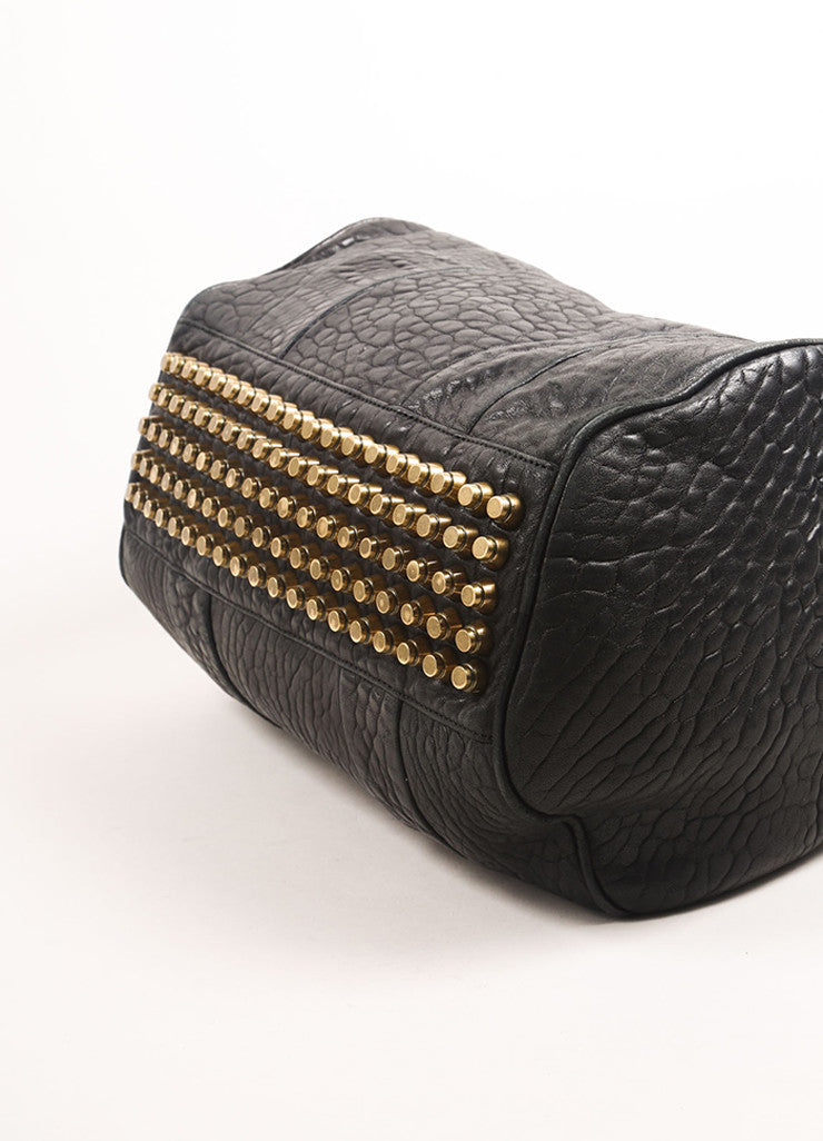 "Alexander Wang Black Pebbled Leather Gold Toned Studded ""Rocco"" Duffel Bag Bottom View"