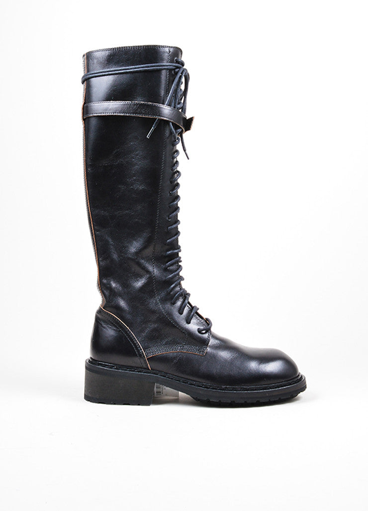 Black Ann Demeulemeester Leather Lace Up Knee High Combat Boots Sideview