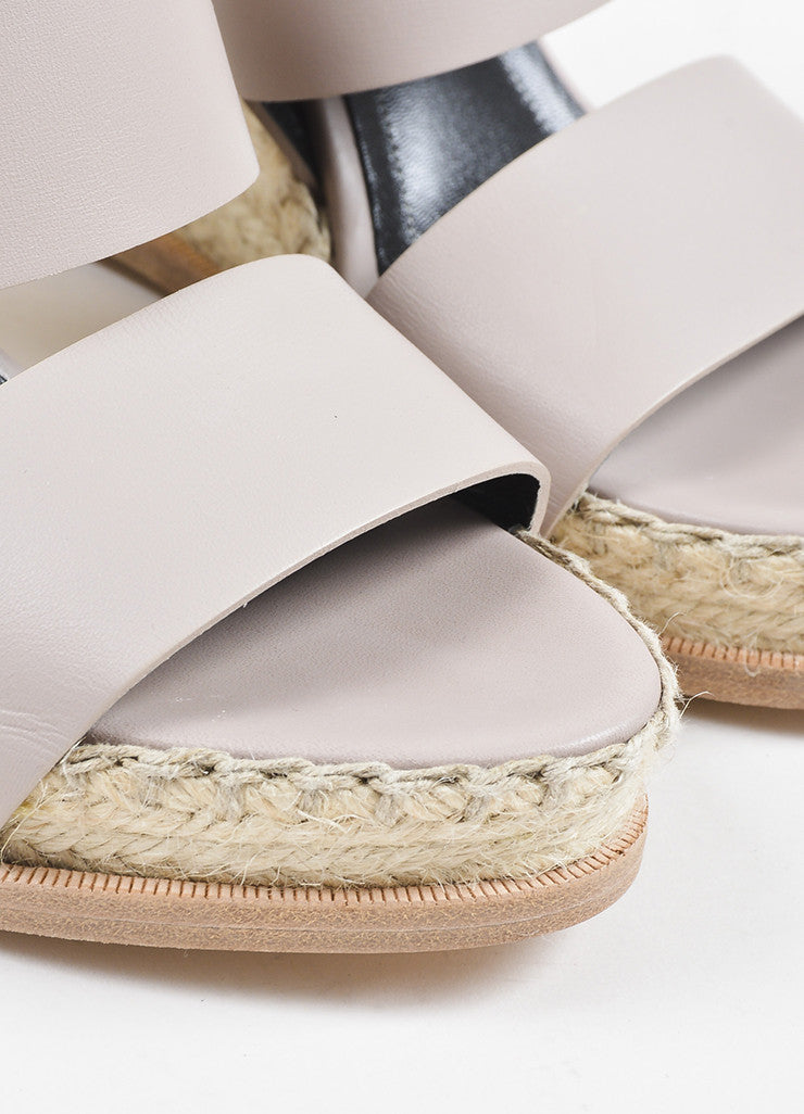 Balenciaga Taupe Leather Espadrille Wedge Sandals Detail