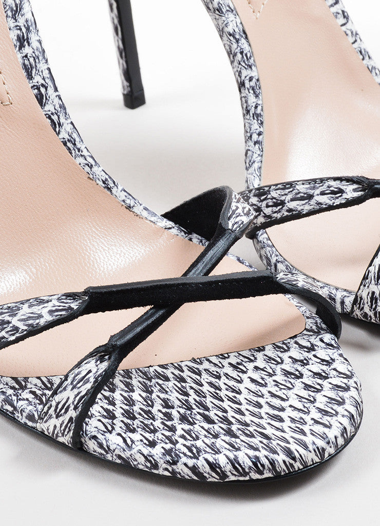 "Barbara Bui Black and White Snakeskin Embossed ""Dotty"" Sandals Detail"