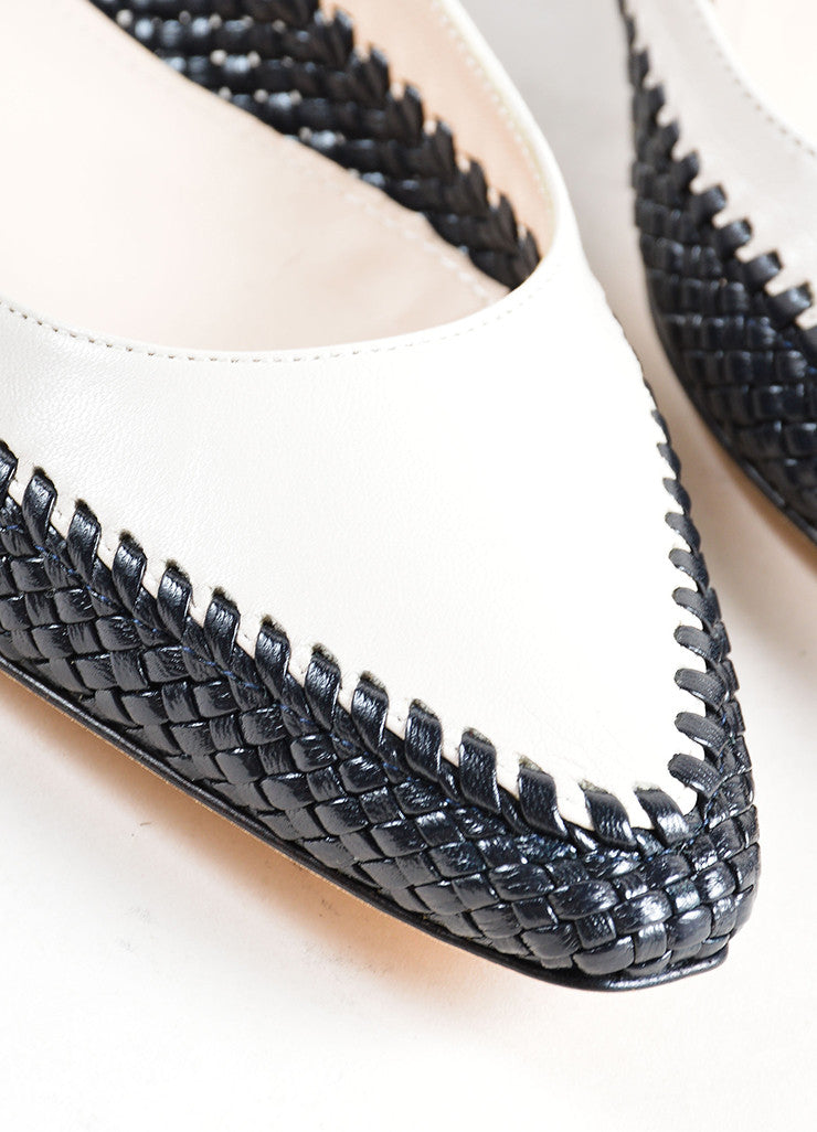 Bottega Veneta Beige and Black Woven Leather Ballerina Flats Detail