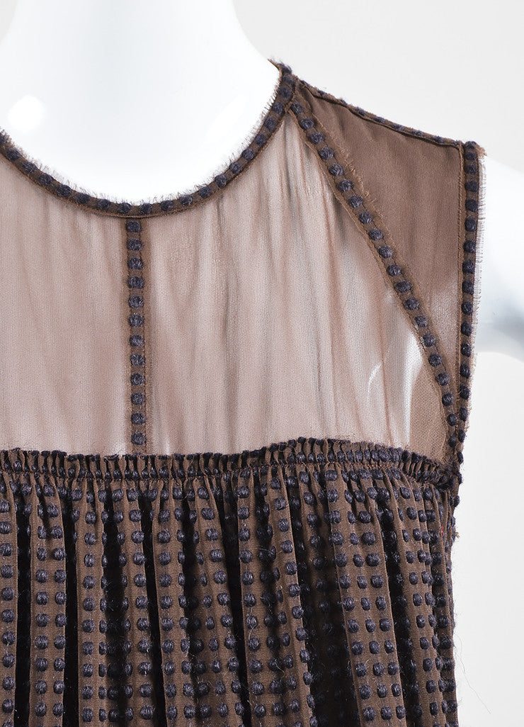 Bottega Veneta Brown Silk Embroidered Sleeveless Shift Dress Detail