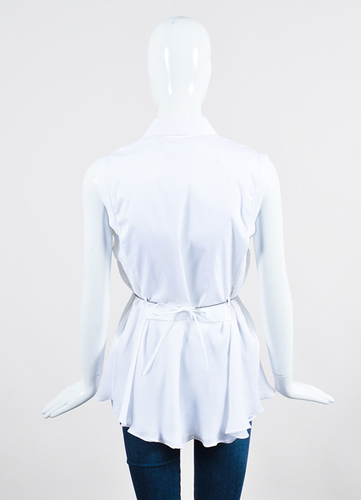 White and Silver Toned Brunello Cucinelli Tie Button Up Sleeveless Blouse Backview