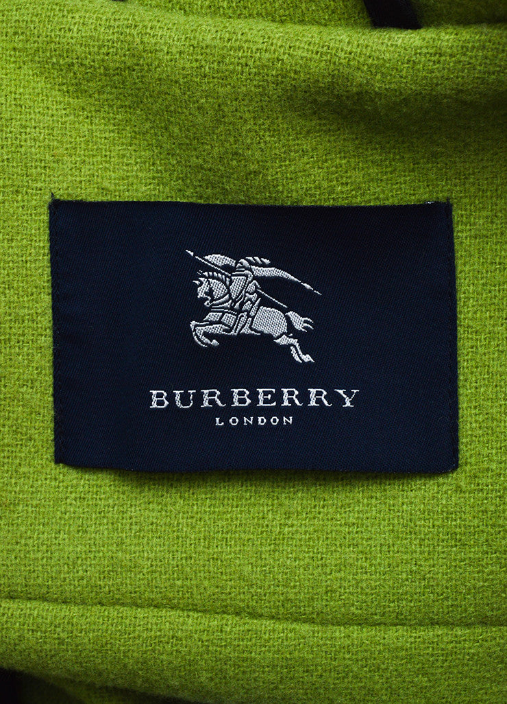 Burberry Lime Green Wool Hooded Toggle Button Coat Brand