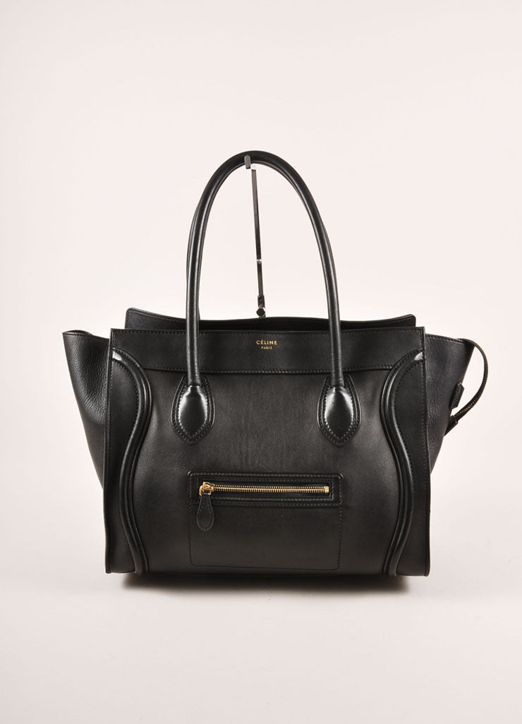 "Celine Black Leather ""Luggage"" Shopper Tote Bag Frontview"