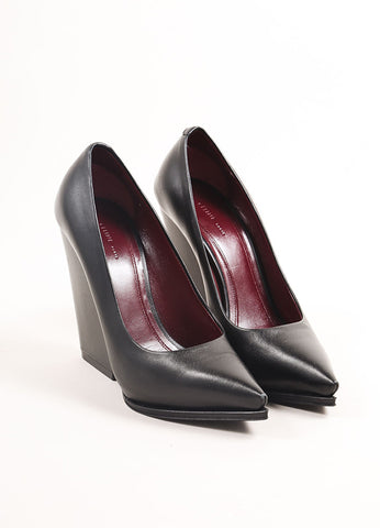 Celine Black Leather Pointed Toe Chunky Heel Leather Pumps Frontview