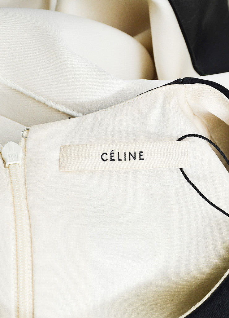 Celine Cream and Black Silk and Wool Blend Leather Trim Color Block Shift Dress Brand