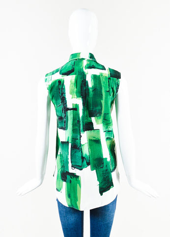 Celine Green and White Silk Brushstroke Print Button Up Collared Sleeveless Blouse Top Backview