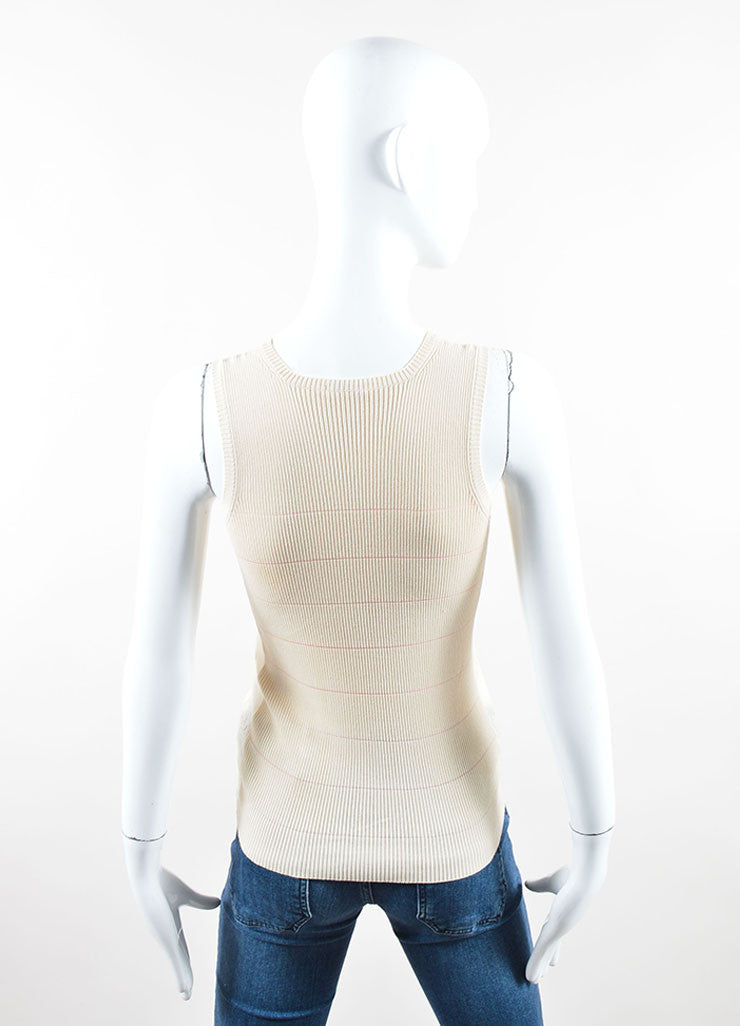 "Chanel Cream and Pink Cotton Blend Knit ""CC"" Sheer Sleeveless Shell Top Backview"