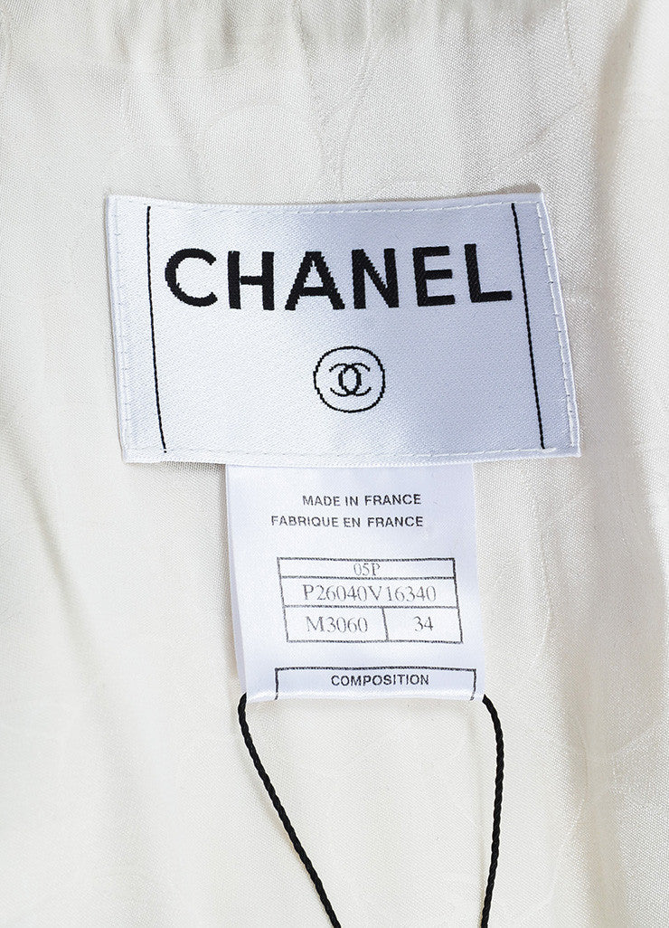 "Chanel ""Light Beige"" and White Silk Blend Tweed Buttoned Car Coat Brand"