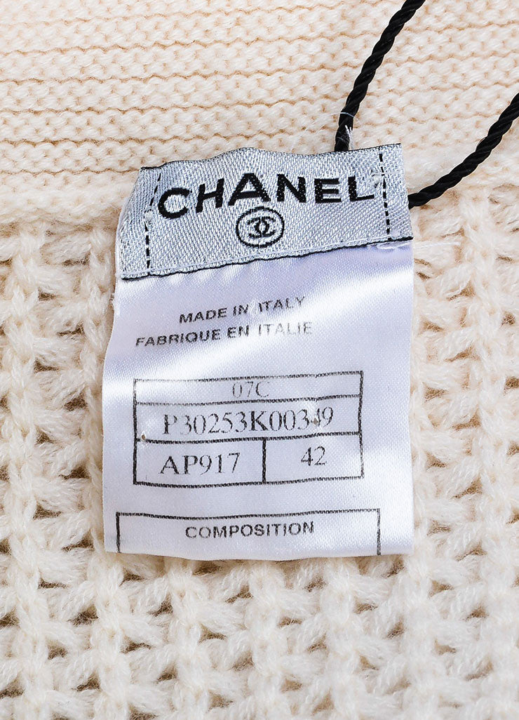 Chanel Cream Cashmere Chunky Knit Sweater Brand